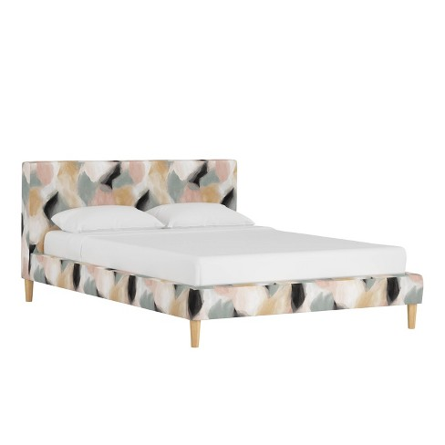Queen Straight Platform Bed Abstract Shapes Cloud - Cloth & Company - image 1 of 4