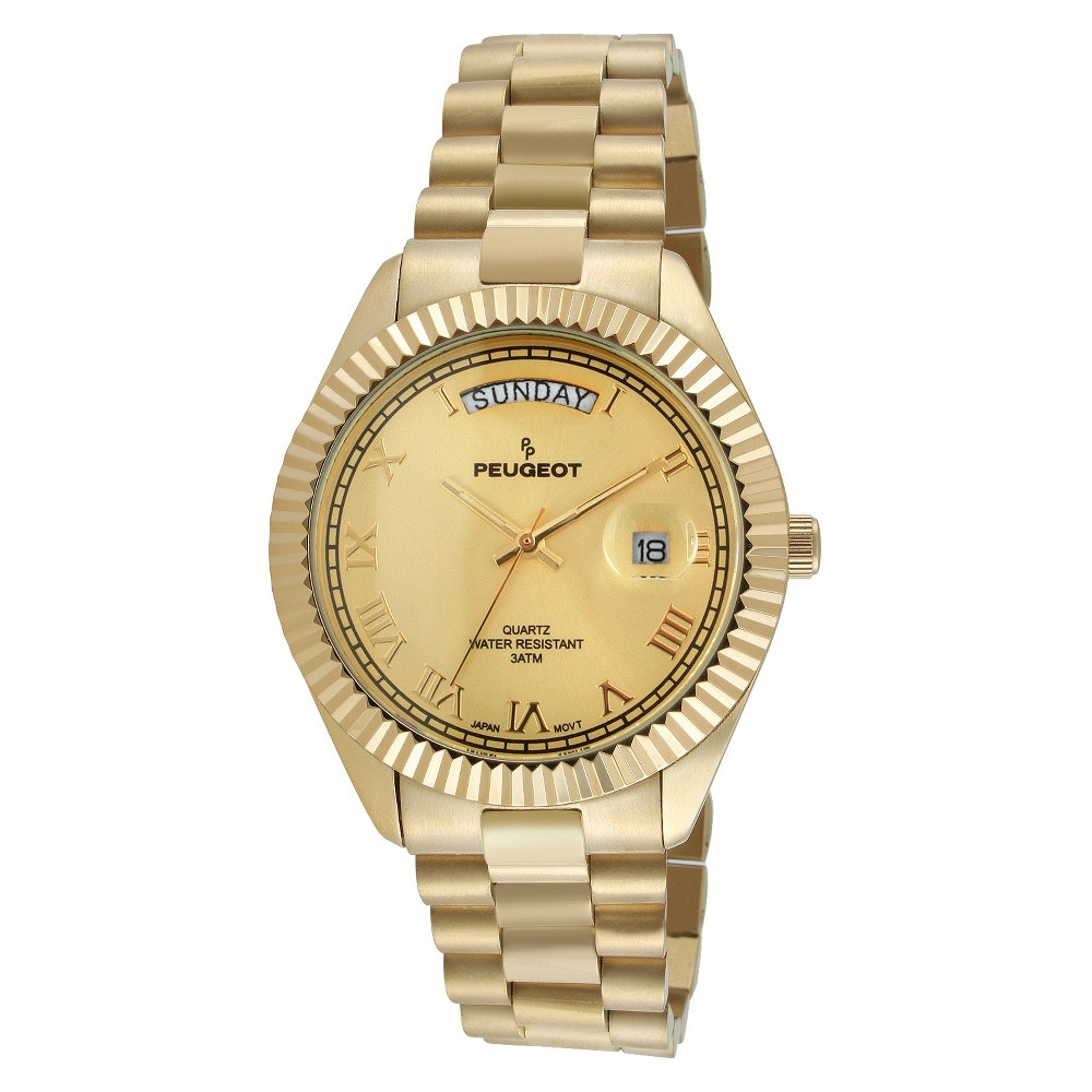 Image of Men's Peugeot Coin Edge Bezel Bracelet Watch - Gold, Men's, Size: Small