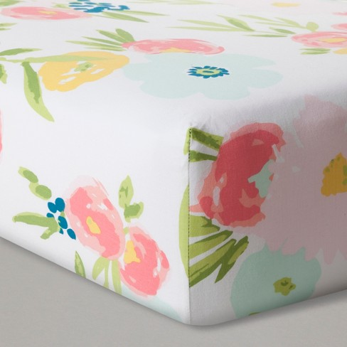 Fitted Crib Sheet Floral - Cloud Island™ Pink - image 1 of 2