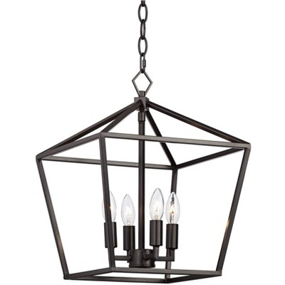 "Franklin Iron Works Bronze Cage Foyer Pendant Chandelier 13"" Wide Open Frame 4-Light Fixture Dining Room House Kitchen Entryway"