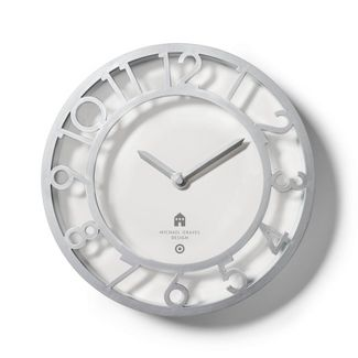"""13.1"""" Decorative Wall Clock Silver - Michael Graves for Target"""
