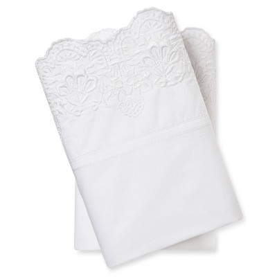 Embroidered Hem Pillowcases (King)White - Simply Shabby Chic™