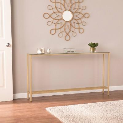 Dillard Narrow Long Console Table Deep Gold - Aiden Lane : Target