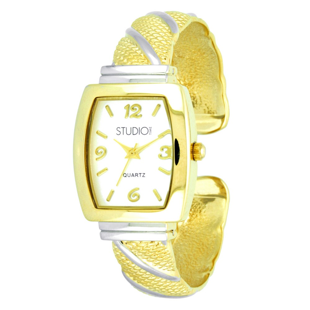 Women's Studio Time Bangle Watch - Gold Enjoy you new fashion forward bangle watch. These chic, versatile and aaesthically pleasing watches will add something new to your look! Color: Gold. Gender: Female. Age Group: Adult.