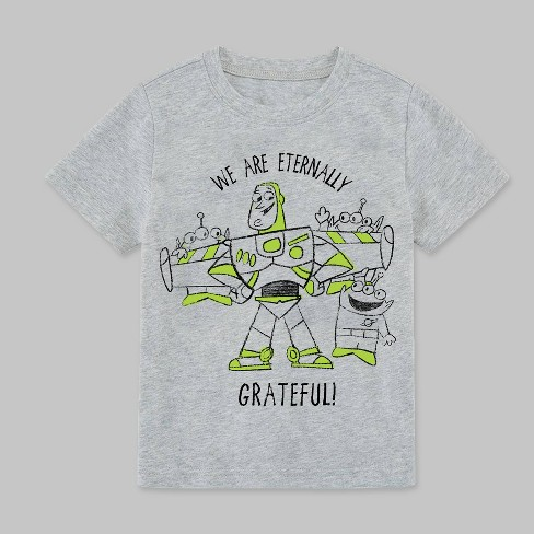 Toddler Boys' Toy Story 4 Buzz Lightyear and Aliens Short Sleeve T-Shirt - Heather Gray - image 1 of 1