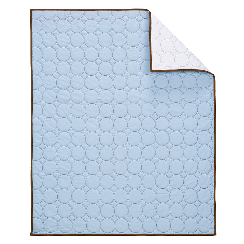Image of Bacati Baby Quilt - Light Blue/Chocolate