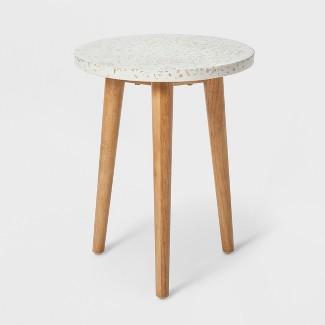 "18.1"" x 14.1"" Terrazzo Accent Table White/Brown - Project 62™"