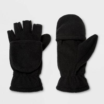 Boys' Flip Top Fleece Mittens - Cat & Jack™ Black