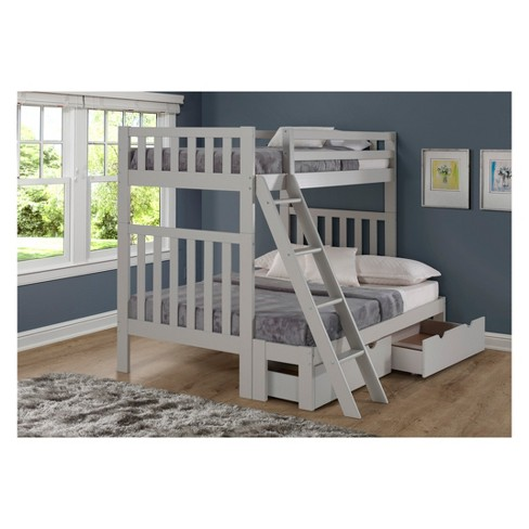 Twin Over Full Aurora Bunk Bed With Storage Drawers Dove Gray