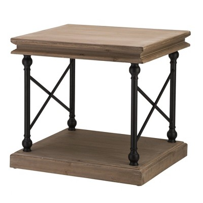 French Vintage Antiqued Finish Accent Table/Side Table Brown - Glitzhome