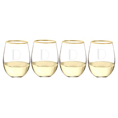 Cathy's Concepts 19.25oz Monogram Gold Rim Stemless Wine Glasses D - Set of 4
