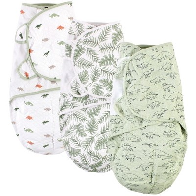 Hudson Baby Infant Boy Quilted Cotton Swaddle Wrap 3pk, Dinosaur, 0-3 Months