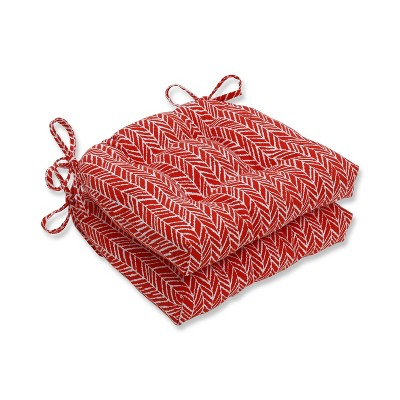 Set of 2 Indoor/Outdoor Herringbone Tomato Reversible Chair Pad Red - Pillow Perfect