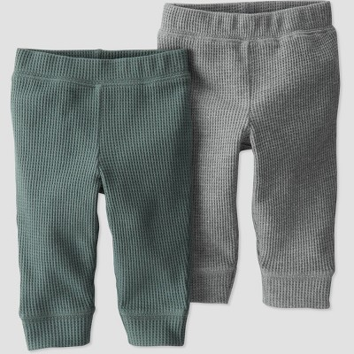 Baby Boys' 2pk Organic Cotton Solid Pull-On Pants - little planet by carter's Green/Gray