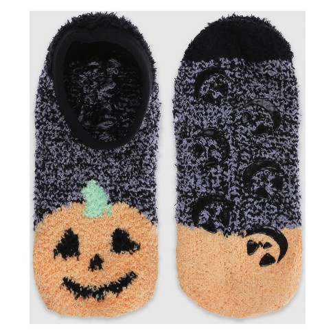 Women's Jack-O-Lantern Cozy Pull On with Grippers Halloween Socks - Black One Size - image 1 of 2