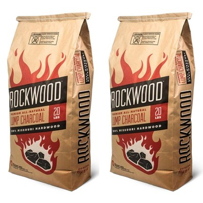 Rockwood 20 Pound All Natural Hardwood Grill Smoker Lump Charcoal Bag (2 Pack)