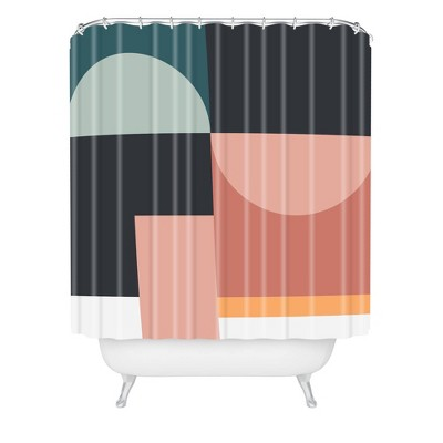 The Old Art Studio Abstract Geometric Shower Curtain Green - Deny Designs