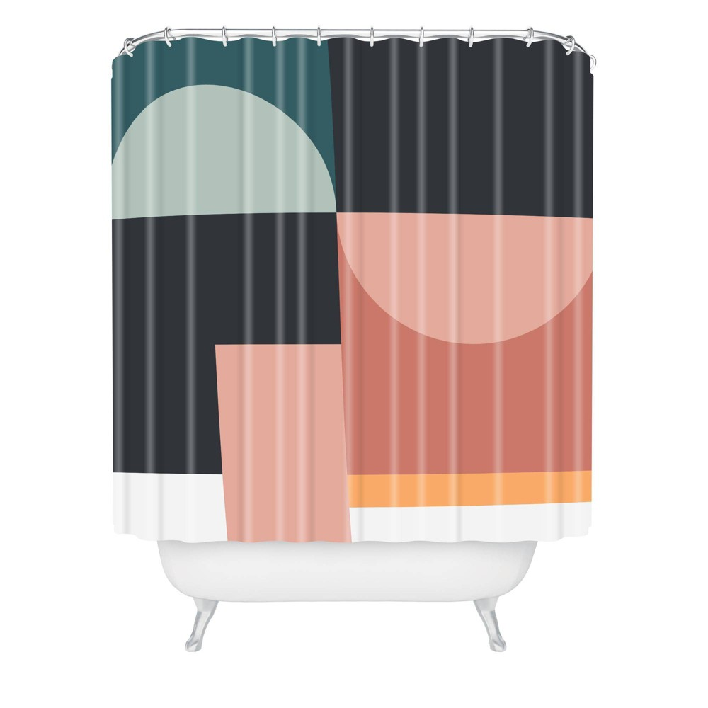 The Old Art Studio Abstract Geometric Shower Curtain Green Deny Designs
