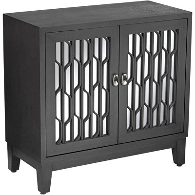 """55 Downing Street Carson 34"""" Wide Gray Wood Mirrored 2-Door Cabinet"""