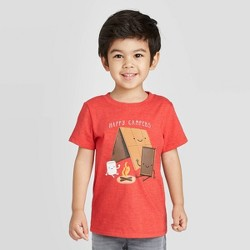 Toddler Boys' Short Sleeve Happy Campers Graphic Stripe T-Shirt - Cat & Jack™ Red
