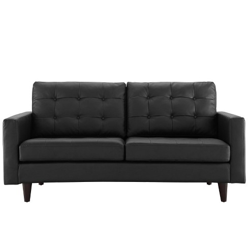 Fabulous Empress Bonded Leather Loveseat Black Modway Bralicious Painted Fabric Chair Ideas Braliciousco