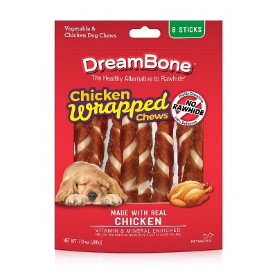 DreamBone Rawhide Free Real Chicken Wrapped Sticks Dental Dog Chews - 8ct