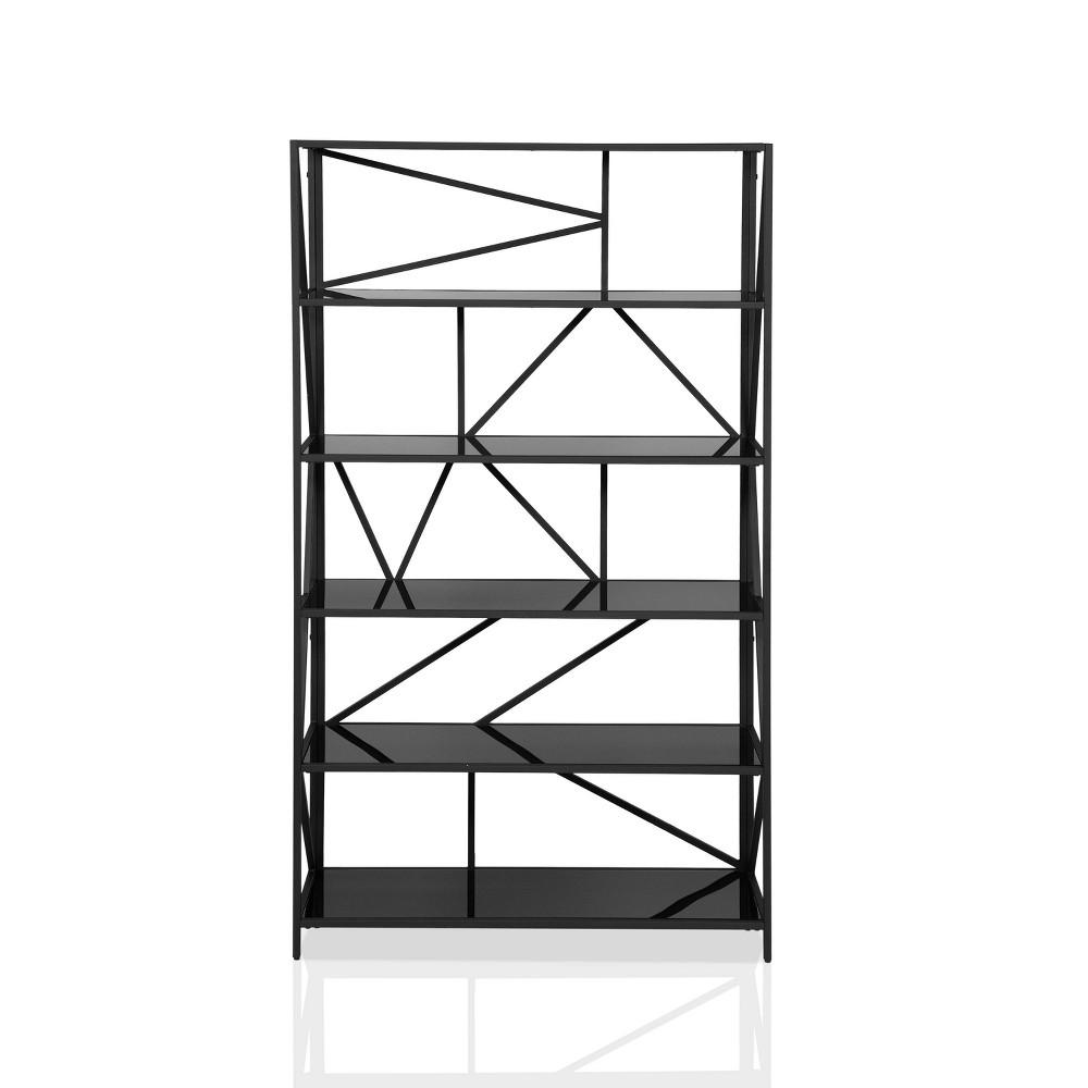 71 5 34 Ginrel Metal Display 5 Shelves Bookshelf Black Mibasics