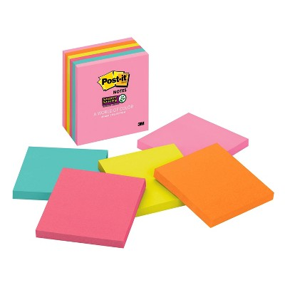 """Post-it 6pk 3"""" x 3"""" Super Sticky Notes 65 Sheets/Pad - Miami Collection"""