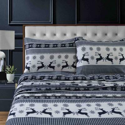 Queen Printed Pattern Extra Deep Pocket Heavyweight Flannel Sheet Set Gingham Deer Tribeca Living Target