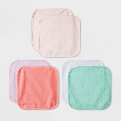 Baby Girls' 6pk Basic Washcloth Set - Cloud Island™ Pink