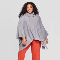 Women's Turtleneck Pullover Poncho Wrap Jacket - A New Day™ One Size Plus