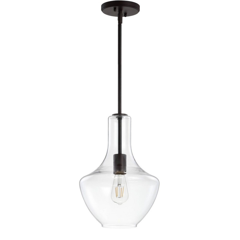 "Image of ""10.5"""" Watts Glass/Metal LED Pendant Black (Includes Energy Efficient Light Bulb) - JONATHAN Y"""
