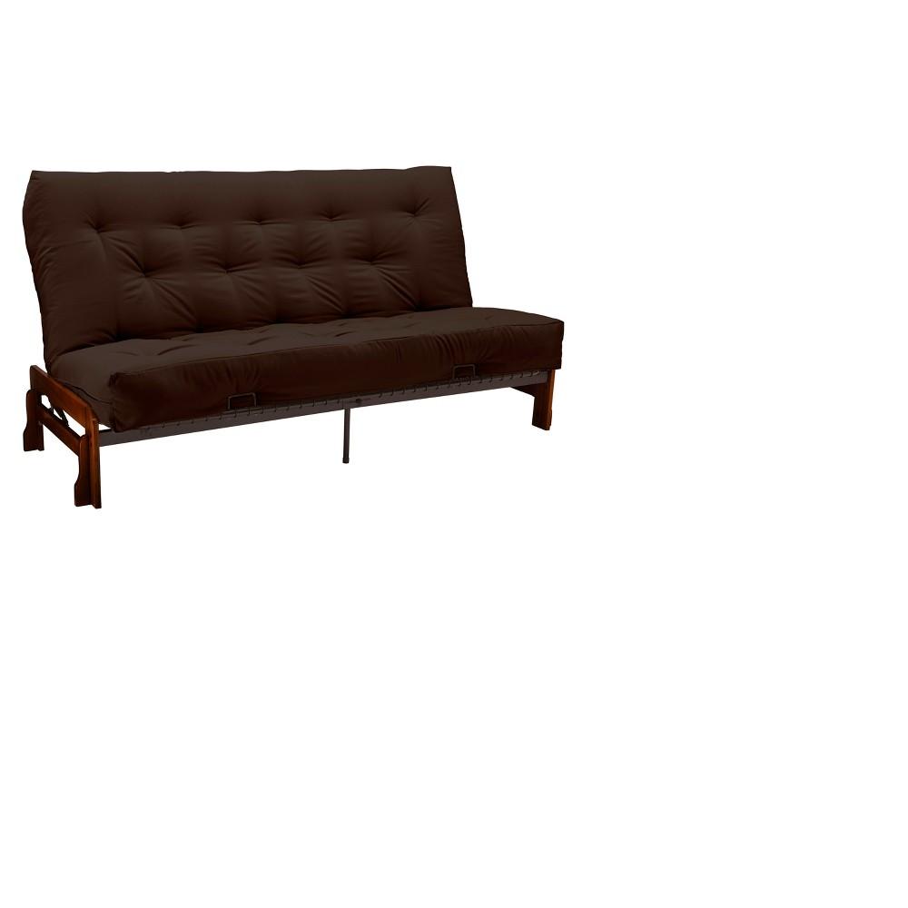 Low Arm 8 Cotton & Foam Futon Sofa Sleeper Walnut Wood Finish - Epic Furnishings, Twill Brown