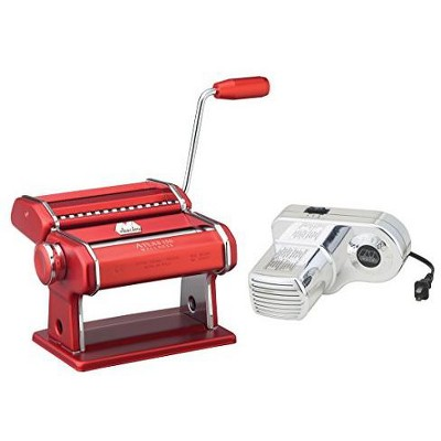 Atlas Electric Pasta Machine with Motor Set in Red