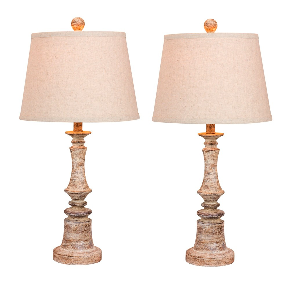 Image of 2pk Distressed Candlestick Resin Table Lamps Beige - Fangio Lighting