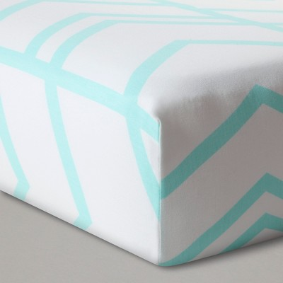 Fitted Crib Sheet Herringbone - Cloud Island™ - Light Blue