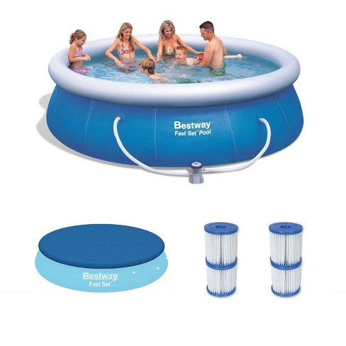 Bestway 12ft x 36in Inflatable Pool with Cover & Type V/K Filter Cartridges