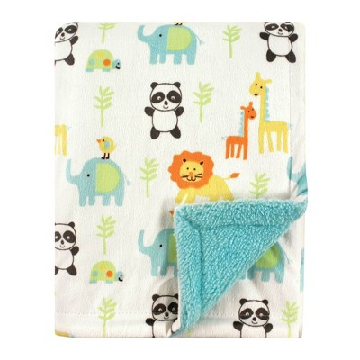 Luvable Friends Unisex Baby Plush Blanket with Sherpa Back - Neutral Animals