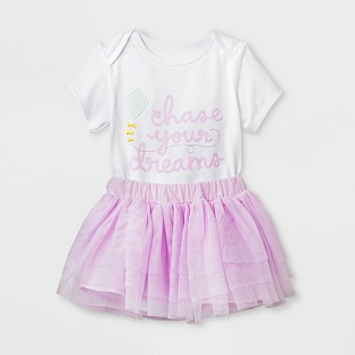 Baby Girls' Short Sleeve Bodysuit and Mesh Tutu Set - Cat & Jack™ Purple 3-6M