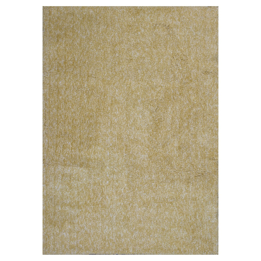Yellow Solid Woven Area Rug 5'x7' - Kas Rugs
