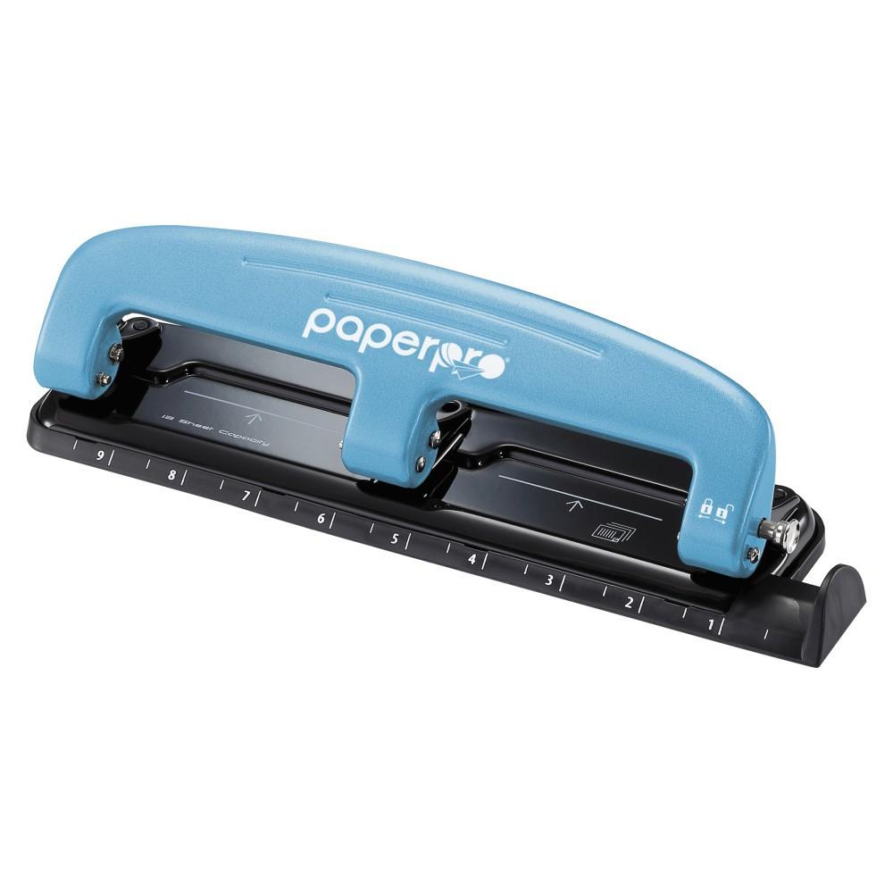Three-Hole Punch 12-Sheet Capacity Blue/Black - PaperPro inPRESS, Black/Blue