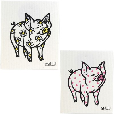 "Swedish Dish Cloth 7.75"" Daisy Pig & Pink Dot Pig Eco Friendly  -  Dish Cloth"