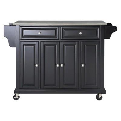 Stainless Steel Top Kitchen Island Wood/Black - Crosley