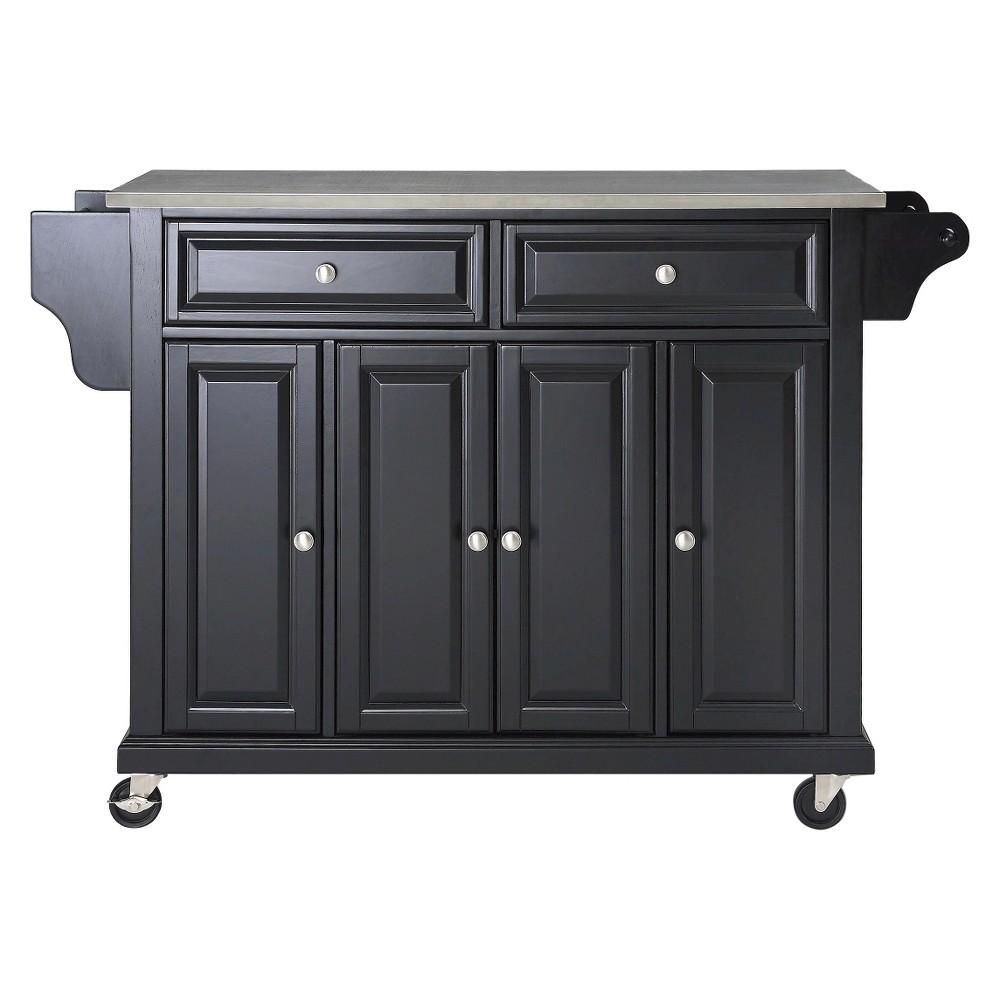 Stainless Steel Top Kitchen Island Wood/Black - Crosley, Black/Silver