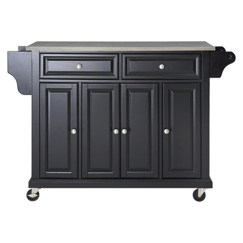Stainless Steel Top Kitchen Island Wood/Black - Crosley - image 1 of 4