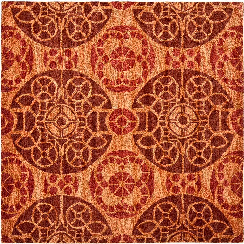 7x7 Medallion Tufted Square Area Rug Cinnamon Red Safavieh