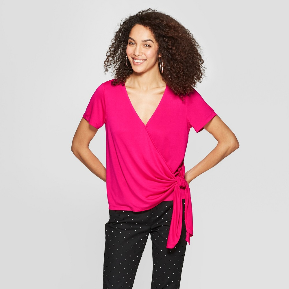 Women's Short Sleeve V-Neck Knit Wrap Top - A New Day Pink L