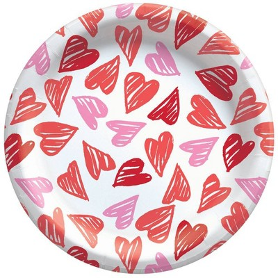 """30ct 8.5"""" Disposable Dinner Plates with Hearts - Spritz™"""