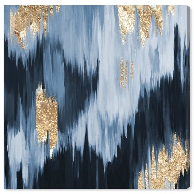 "12"" x 12"" Gold Blue Fall Abstract Unframed Canvas Wall Art in Blue - Unbranded"