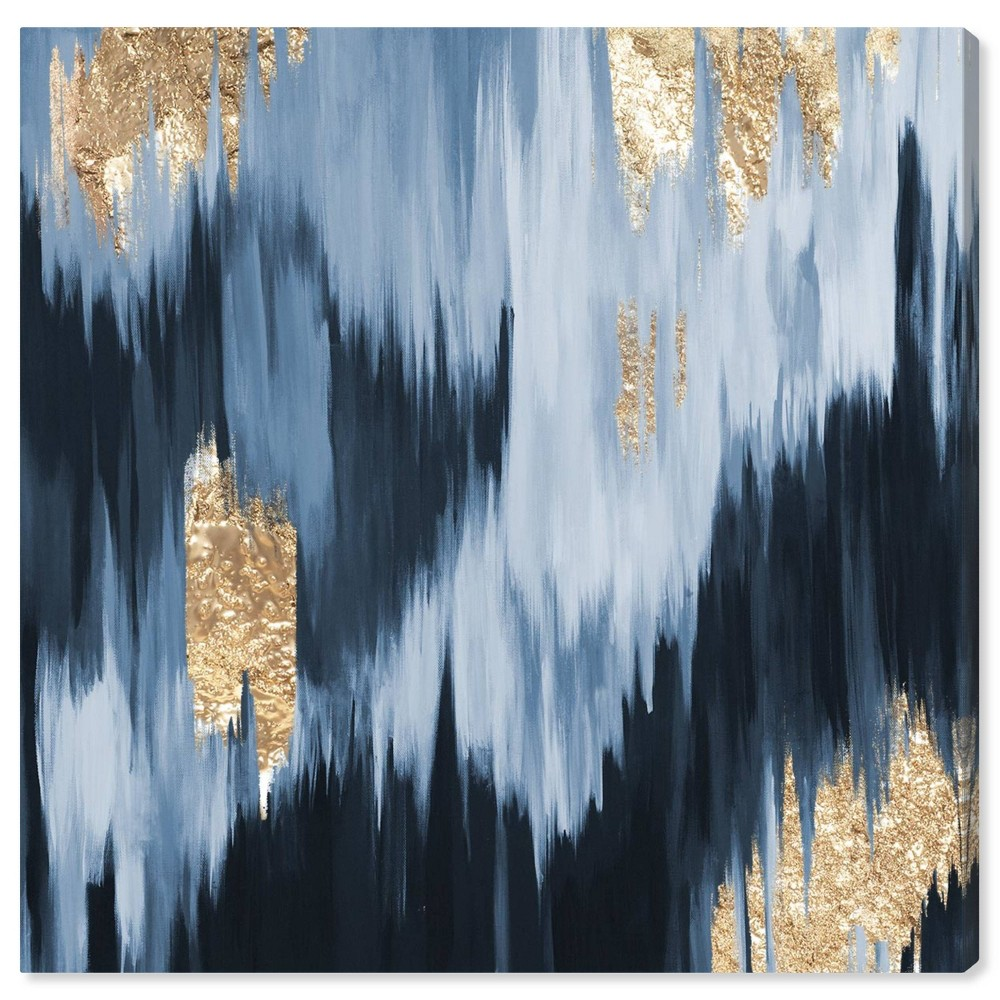 Image of 12'' x 12'' Fall Unframed Wall Canvas Blue/Gold - Oliver Gal
